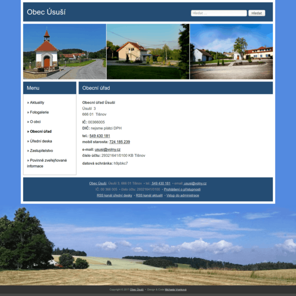 Obrázek layoutu webu obce Úsuší