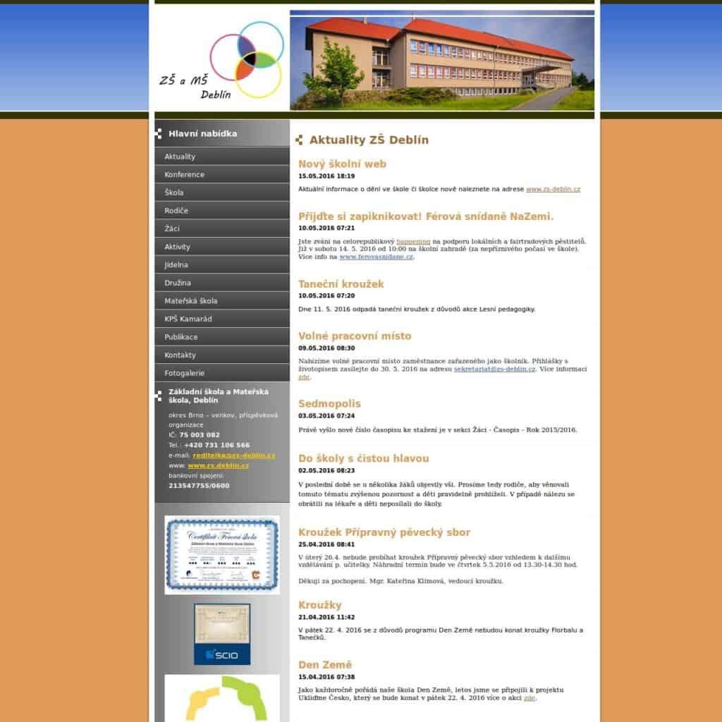 Snímek úvodní obrazovky původního webu ZŠ a MŠ Deblín