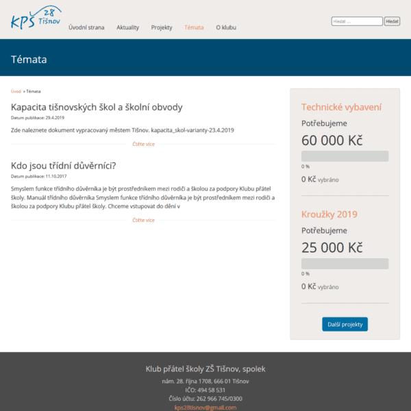 Snímek stránky Témata na webu KPŠ 28 Tišnov