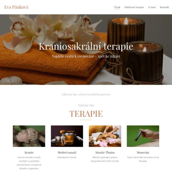 Snímek úvodní stránky webu Kraniosakrální terapie Eva Pánková