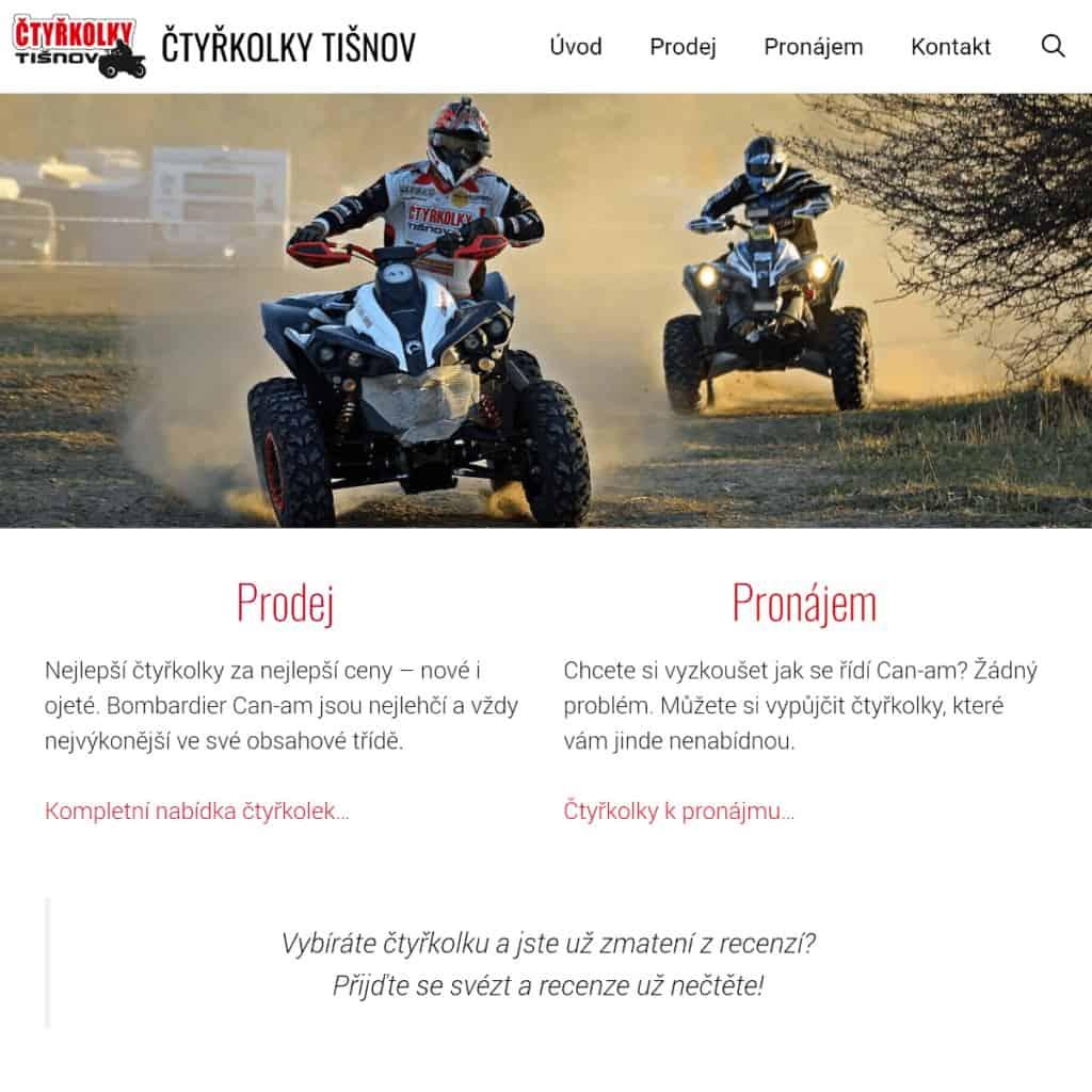 Snímek obrazovky původního webu Čtyřkolky Tišnov