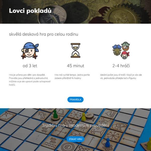 Produktový web pro hru Lovci pokladů