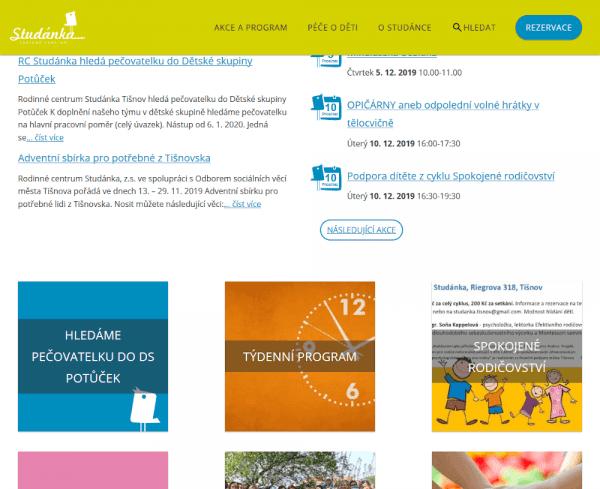 Snímek obrazovky nového webu RC Studánka